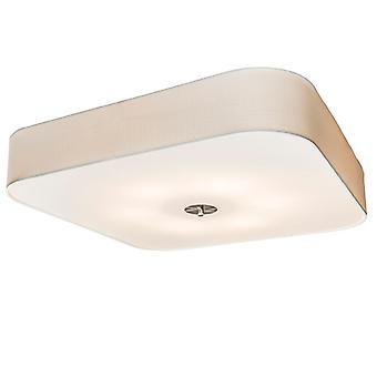 QAZQA Square Ceiling Lamp 70cm White - Drum Deluxe Jute