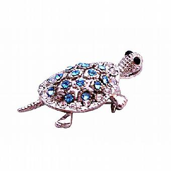 Aquamarine Crystals Turtle Silver Casting Inexpensive Brooch & Pendant