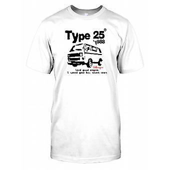 Typ 25 1988 VW Camper - 1.6td goed Mens T Shirt van de motor