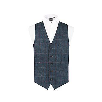 Escocés Harris Tweed Hombres Azul Oscuro Tweed Chaleco Regular Ajuste 100% Lana Windowpane Check