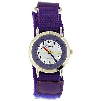 The Olivia Collection Analogue White Dial Purple Easy Fasten Kids Watch TOC132