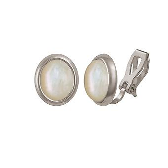 Eternal Collection Minuet Mother Of Pearl Silver Tone Stud Clip On Earrings