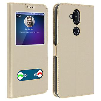 Double window flip standing case for Nokia 8.1, TPU shell - Gold