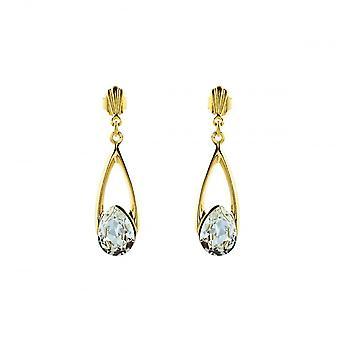 Eeuwigheid 9ct goud kristal druppel oorbellen