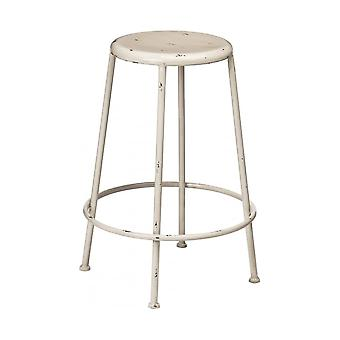 Fusion Living Cream Metal Distressed Artisan Bar Stool