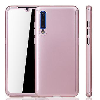 Xiaomi Mi 9 Handy Hülle Schutz-Case Full-Cover Panzer Schutz Glas Rose