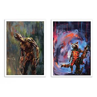 2 Art-Posters - Duo Groot and Rocket - Wisesnail