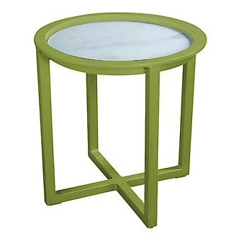 Plage7 - France QUEENS LOUNGE TABLE Alum/GLASS Marble Look 50CM  L'olive