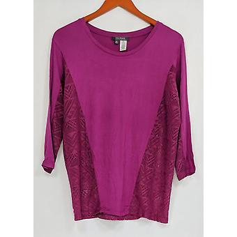 Lisa Rinna coleção mulheres ' s top mesh painel malha tee Purple A277013