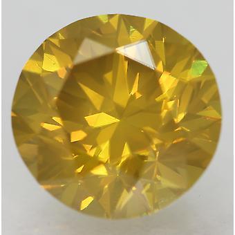Cert 2.29 Ct Yellow Orange VVS2 Round Brilliant Enhanced Natural Diamond 8.38mm