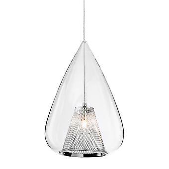 Firstlight-1 ljus tak hänge krom, klarglas-4930CH