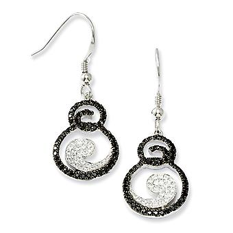 925 Sterling Silver Shepherd hook Rhodium plated White and Black Diamond Fancy Long Drop Dangle Earrings Jewelry Gifts f