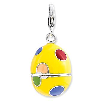 925 Sterling Silver Moveable Rhodium plated Fancy Lobster Closure 3 d Enameled Egg With Lobster Clasp Charm Pendant Neck
