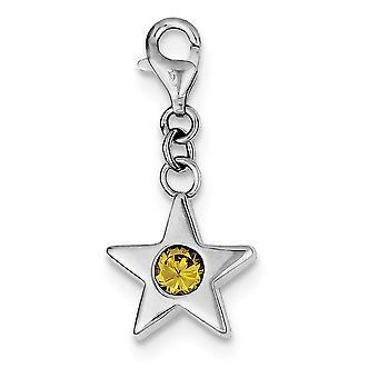 925 Plata esterlina pulido espalda abierta elegante langosta cierre noviembre CZ Zirconia cúbica simulada diamond Star Charm Pen