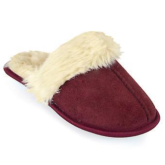 SlumberzzZ Womens Polysuede & Faux Fur Mule Slippers