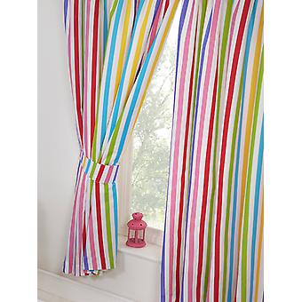 Rainbow Sky Striped Lined Curtains