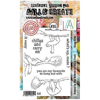 AALL & Create A6 Stamp Set #215 Sleepy Sloths by Olga Heldwein
