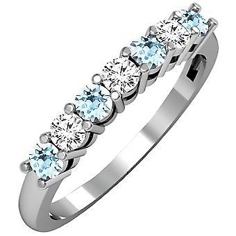 Εκθαμβωτική συλλογή 14K στρογγυλό γκριζογάλανο & λευκό διαμάντι κυρίες 7 πέτρα γαμήλιο δαχτυλίδι Band, λευκό χρυσό