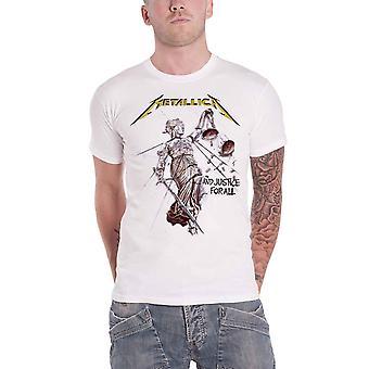 Metallica T Shirt Justice pour tous les logo salais e nouveau blanc officiel pour hommes