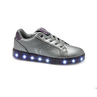 GEOX Jr Kommodor Girls Light Up Trainers Silver/prune