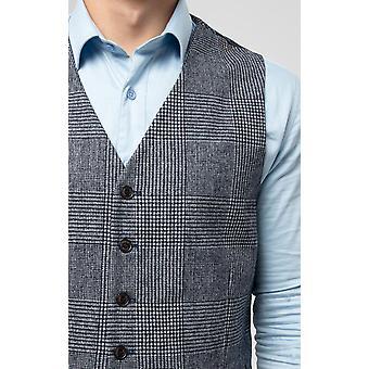 Dobell Mens Blue Tweed Kamizelka Slim Fit Prince of Wales Sprawdź
