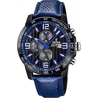 Festina Uhren originale F20339-4 - watch Chronograph Leder Blue Man