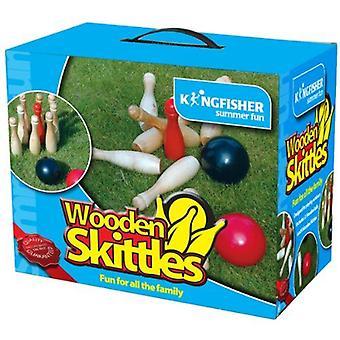 Zimorodek drewniany ogrodowy kręgle gry ustawić Grill Party dzieci gra w kręgle