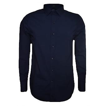 Replay menn marineblå Slim Fit langermet skjorte