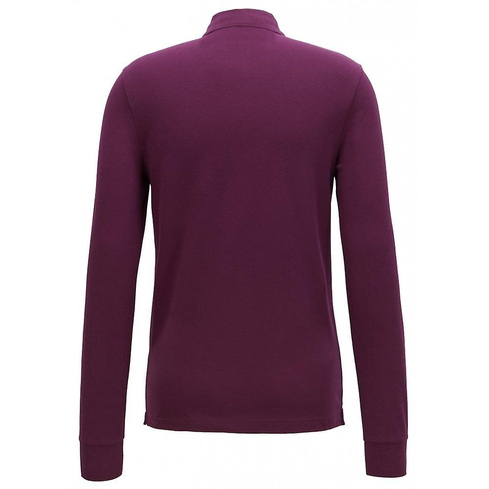 Hugo Boss Casual Slim Fit Purple Passerby Long Sleeved Polo Shirt
