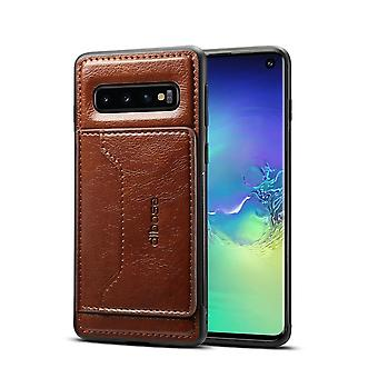 Pour Samsung Galaxy S10 Case,Coffee Wild Horse Texture Folio Leather Wallet Cover