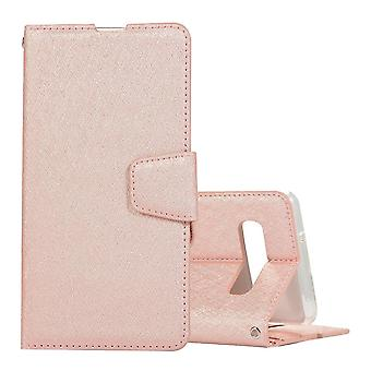 Pour Samsung Galaxy S10 Case Rose Gold Silk Texture Leather Wallet Folio Cover
