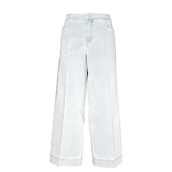 Isaac Mizrahi Live! Women's Petite Jeans 14 24/7 Denim Wide Leg Blue A300916