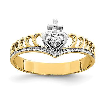 14k White Rhodium Cubic Zirconia Heart Cross Ring Size 7 Jewelry Gifts for Women