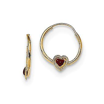 11.8mm 14k Madi K poleret Rød Enameled Love Heart Hoop Øreringe smykker Gaver til kvinder - 0,3 Gram