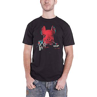 Watch Dogs T Shirt Legion Pork Head Logo new Official gamer Mens Black