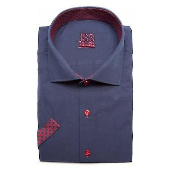 JSS Plain Navy Slim Fit Short Sleeve Shirt With Red Aztec Trim