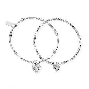 ChloBo Silber Mitgefühl Set von 2 Armbändern
