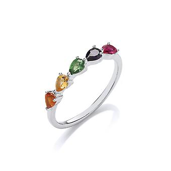 Jewelco London Rhodium Plated Sterling Silver Multi Coloured Pear-Shape Cubic Zirconia Rainbow Tropical Half Eternity Ring
