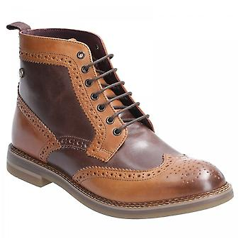 Base London Tan/brown Leather Banner Burnished Lace Up Brogue Boots