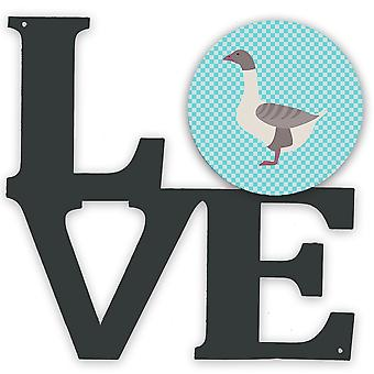 Buff Grey Tilbage Goose Blue Check Metal Wall Artwork LOVE