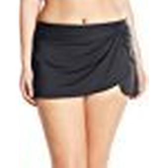 Anne Cole Women's Plus-Size Sarong Skirted Bikini Swim, Black 2, Size 24W