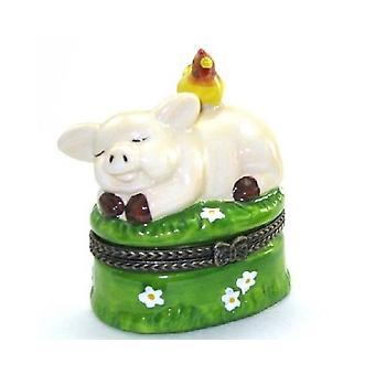 Farm Yard Pig with Chicken Piggy Piglet Porcelain Hinged Trinket Box