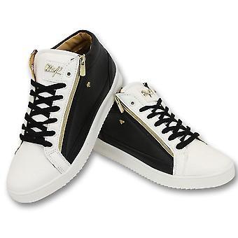 Sneaker - Bee Black White Gold 2- ZwartWit