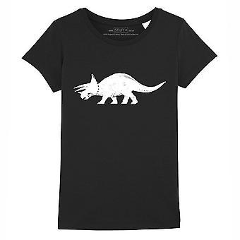 STUFF4 Girl's Round Neck T-Shirt/Dinosaur/Triceratops/Black