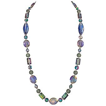 Eternal Collection Tranquility Shades Of Green And Purple Crystal Long Statement Necklace
