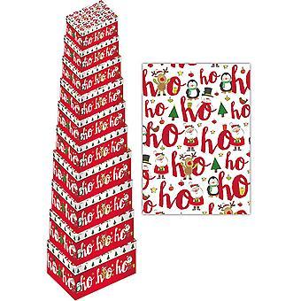 Eurowrap Christmas Ho Ho Ho Oblong Gift Boxes (Pack of 10)