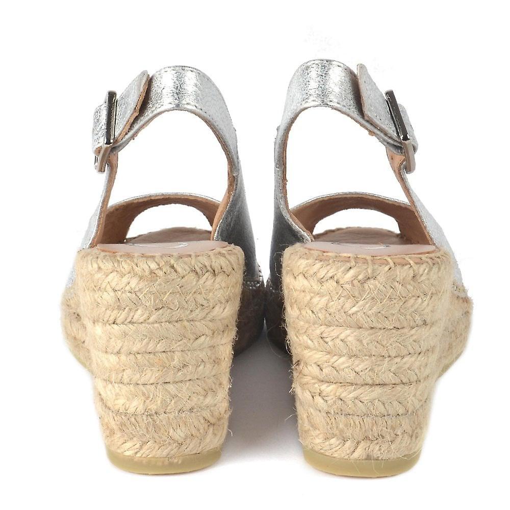 Kanna Ania Silver Espadrille Wedge Slingback Sandal