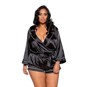 Mulheres Plus Size Aconchegante Cetim Aconchegante Gravata De Gola Perto Preto Teddy Romper Sleepwear Lingerie
