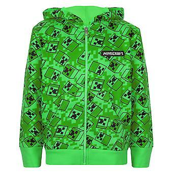 Minecraft Creeper All Over Print Boys Green Zip Up sudadera con capucha niños suéter con capucha