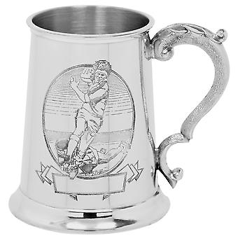 Rugby Scene Pewter Tankard - 1 Pint
